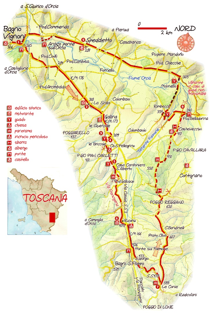 La via francigena in val d orcia sentieri d 39 autore - Bagno vignoni mappa ...